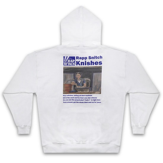 "RAP ATTACK パーカー -""Rapp Snitch Knishes""Hoodie / WHITE-"