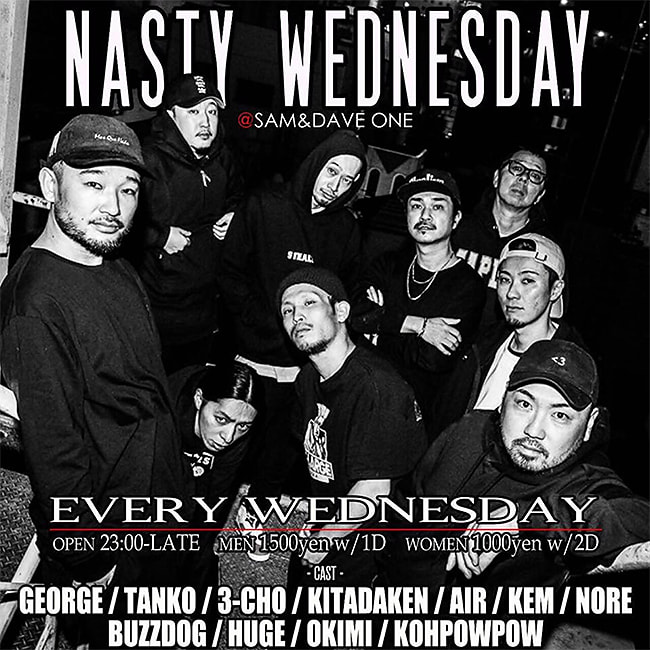 NASTY WEDNESDAY@SAM&DAVE フライヤー