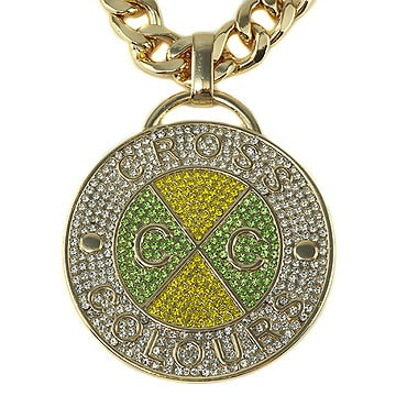 Cross Colours ネックレス -Cross Colours Crystal Medallion/MIAMI CUBAN LINK CHAIN -YELLOW/GREEN-