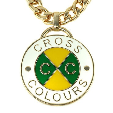 Cross Colours ネックレス -Cross Colours Retro Medallion/MIAMI CUBAN LINK CHAIN -GOLD/GREEN-